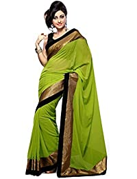 Sky Global Women's Green Chiffon Saree With Unstitched Blouse (Green_Saree_2057)