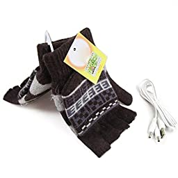 USB Warm Gloves Oenbopo Unisex PC Laptop USB Heated Half & Full Finger Winter Warm Hand Gloves Warmer Wool for Women Men (GS62)