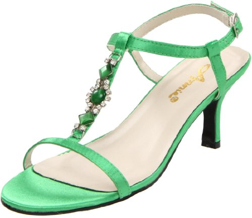 Annie Shoes Women's Bright T-Strap Sandal,Green Satin,13 M US