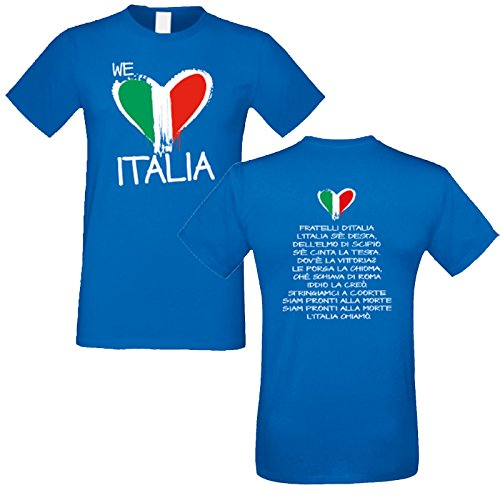T-Shirt Europei 2016 Stampa Inno Nazionale Italiana Maglietta We Love Italia, Colore: Azzurro, Taglia: S/M