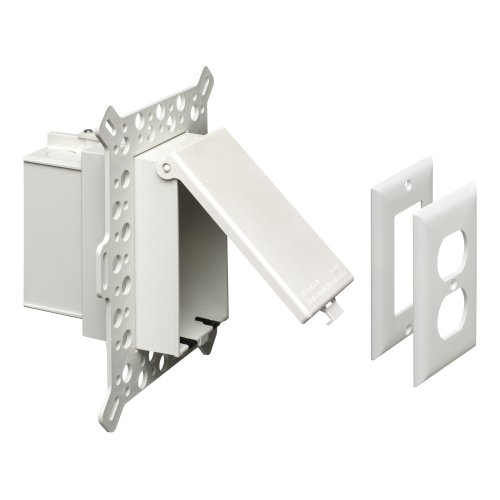 Arlington DBVMA1W-1 Electrical Box with Weatherproof Cover, Adjustable Flange 1/4-Inch to 2-1/2-Inch, White, Vertical/1-Gang