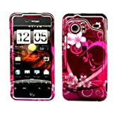 Purple Heart Snap on Hard Skin Faceplate Cover Case for HTC Droid Incredible 6300 + Microfiber Cell Phone Bag