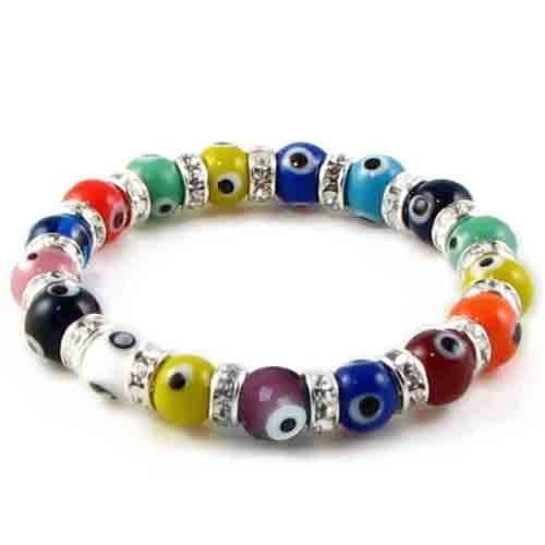 Bling Jewelry Evil Eye Beads 10mm Multi Color Stretch Swarovski Crystal Bracelet