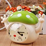 Mushroom hat Green talking with a beautiful voice alarm clock to get up students Alarm Clock Children Cartoon Children Silent Alarm Clock Kids Student Kids Bedside Sleep Trainer Student Table Clock