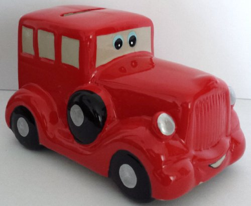 Classic Porcelain Red Car Bank, Hand Painted and Fire Glazed