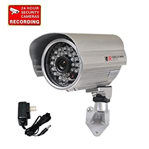 "VideoSecu Outdoor Day Night IR Bullet Security Camera Infrared Weatherproof CCTV Home 1/3"" Color CCD 420 TV Lines Wide Angle Lens with Free Power Supply A71"