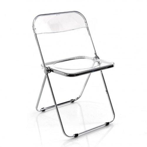 Castelli-Plia-Klappstuhl-transparent-Gestell-verchromt-mit-schwarzen-Kunststoffgleitern