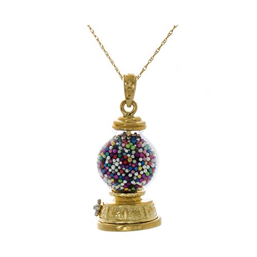14k Yellow Gold Novelty Charm Pendant, 3-D Gumball Machine, Moveable with 18 Inch Rope Chain