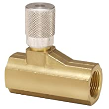 "Parker 003371002 337 Series Brass Micrometer Flow Control Valve, 3/8"" NPTF Port, 250 psi, Fine Adjustment, 59 scfm"