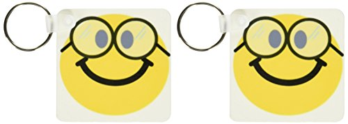 3dRose Geeky smiley face Cute geek Happy nerd yellow smilie with glasses - Key Chains, 2.25 x 2.25 inches, set of 2 (kc_113100_1)