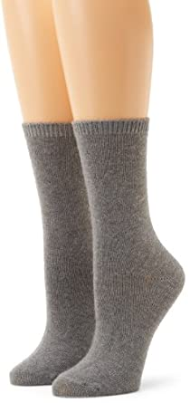 Anne Klein Women's 2-Pack Solid Cashmere Gift Set Socks, Charcoal Heather, One Size