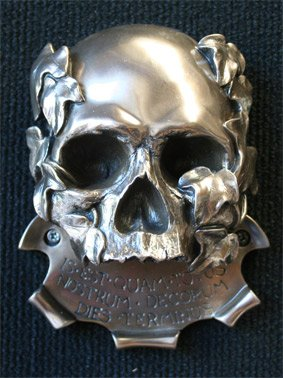 Wall mounted Bottle Opener Vamp Gothic Tribal Skull - Satin Bronze metallic finish