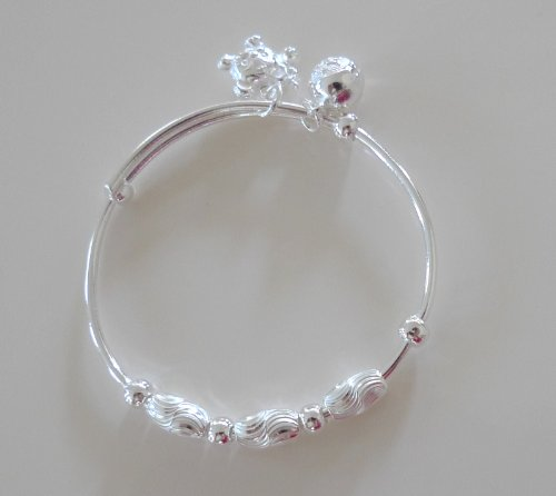 New 925 Sterling Silver Baby/ Infant AnkletBaby BraceletBaby Shower favorsGift for Your Lovely BabyGorgeous Anklet Great Look for Your Baby's Feet(B20)Two function: can use it as anklet or braceletDecoration of our anklet may vary based on different shipment!