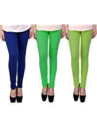 Snoogg Womens Ethnic Chic Inspired Churidar Leggings In Blue, Green And Light Green