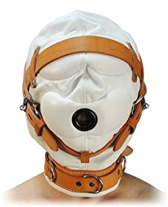 Strict Leather Total Sensory Deprivation White Leather Hood, Small/Medium