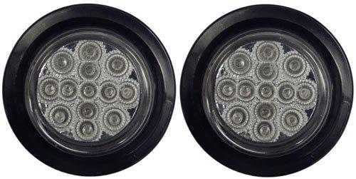 """2.5"""" Clear / Red Led Trailer Marker Light Kit W/ Grommets, Pigtails"""