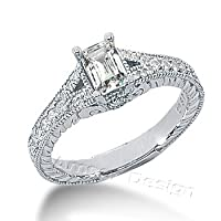 14K White Gold Engagement Ring - 1.13CT Emerald Cut Diamond Ring(H-I Color, I1 Clarity), All Sizes Available