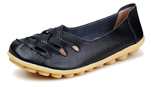 Kunsto Women's Leather Loafer Shoes Slip On US Size 8 Black-Hollow Out
