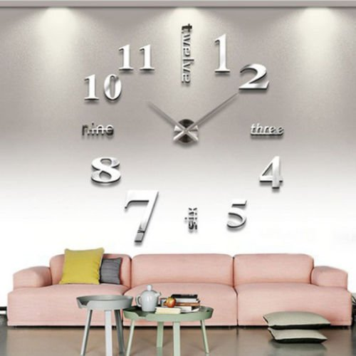 SOLEDI-DIY-Groe-Wanduhr-3D-Sticker-Spiegel-Oberflchen-Metall-Groe-Uhr-Zimmerdeko-Tolles-Geschenk