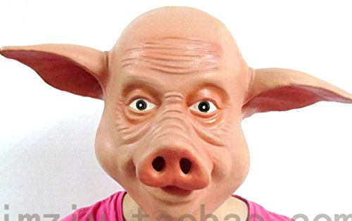 Funny NEW Latex Cute PIG Mask Tv Film Saw Halloween Fancy Dress Animal Fun Men Womens