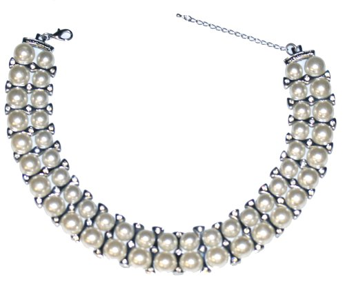White Pearl Necklace  Clear Crystals 37cm +7cm