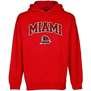 NCAA Miami University RedHawks Red Logo Arch Applique Midweight Pullover Hoodie (XXX-Large)