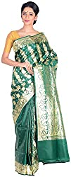Sree Howrah Stores Women's Pure Silk Saree with Blouse Piece (Bottle Green)