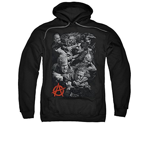 Sons Of Anarchy Tv Series Group B&W Group Fight Logo Adult Pull-Over Hoodie