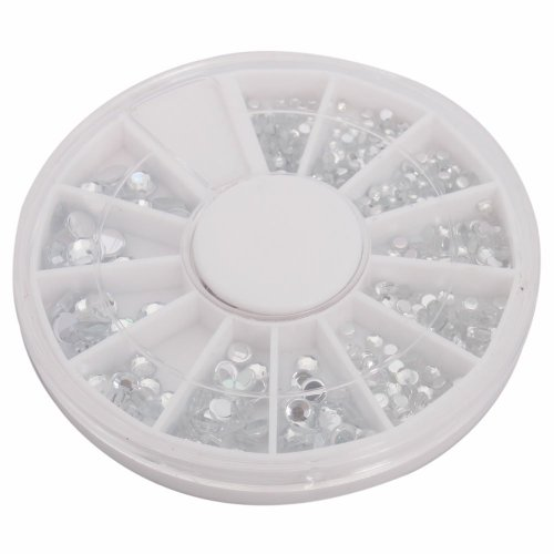 So Beauty 12 Different Size Nail Art Nailart Round Glitter Rhinestones Tips Manicure Decoration Clear + Wheel by So Beauty