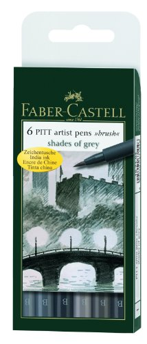 FaberCastell  Pitt Artist Pens Set Of 6 Brush TipsShades Of Grey Picture