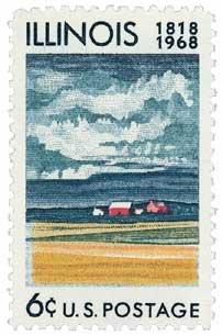 #1339 - 1968 6c Illinois Statehood U. S. Postage Stamp Plate Block (4)