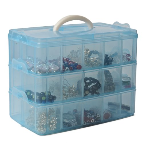 Blue 3 Tier Adjustable 30 Compartment Slot Plastic Craft Storage Box Jewellery Tool Container Medium