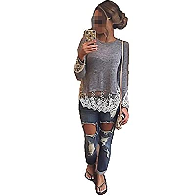 Vogholic Women's Casual Lace Trim Hem Pullover Shirts Blouse Tops