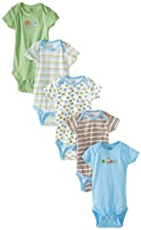 Gerber Baby-Boys Newborn 5 Pack Variety Brand Elephants Onesies Brand, Elephants Blue, 0-3 Months