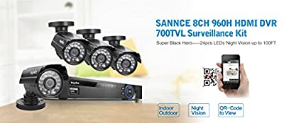 SANNCE® Smart Security DVR with QR Code Scan Easy Setup w/ 4 Weatherproof Ultra Hi-res Outdoor CCTV Cameras, Home Surveillance System Quick Remote Access