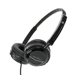 MEE Audio HT-21 Portable Travel Headphone with Swivel Cups and Lightweight, Adjustable, Foldable Headband - Black