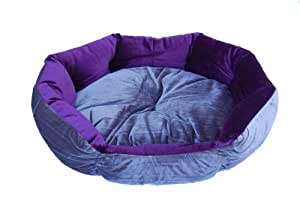 Anima Purple and Grey Velvet Clam Shell Bed, 20 by 16 by 9-Inch, Small