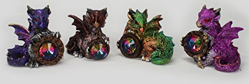 "Dragon Mini Figurines Statues with Jewel 4 Piece Set Each 2 1/4"" Tall"