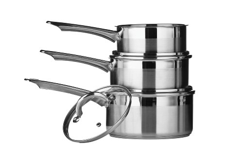 Premier Housewares Set di tre tegami in acciaio INOX Two Tone, 16/ 18/ 20 cm