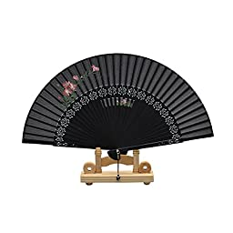 Remedios Asian Silk Bamboo Folding Hand Fans with Crystal Accessory Black