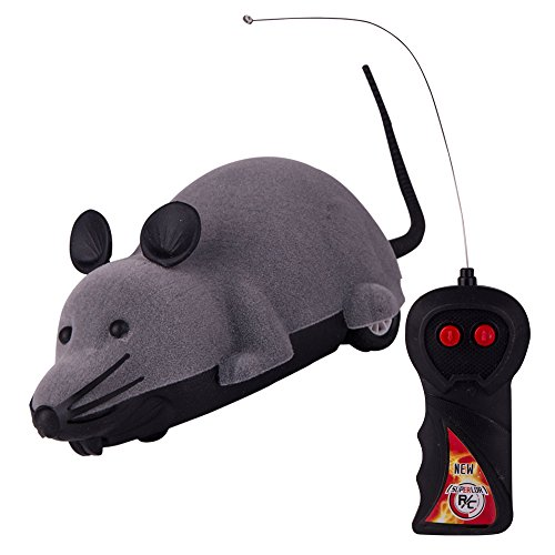 Electronic Two-way Wireless Remote Control Mouse Toy RC Tricky Rotation Toy Rat Mice Animal Hot Flocking Emulation Toys Kids Toy for Cat Dog Pet Animals Children (Gray) (Remote Control Mouse compare prices)