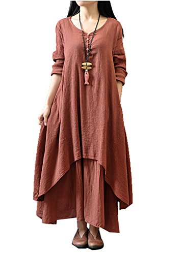Womens Plus Size Fake Two Piece Loose Linen Chinese Folk Style Long Dress