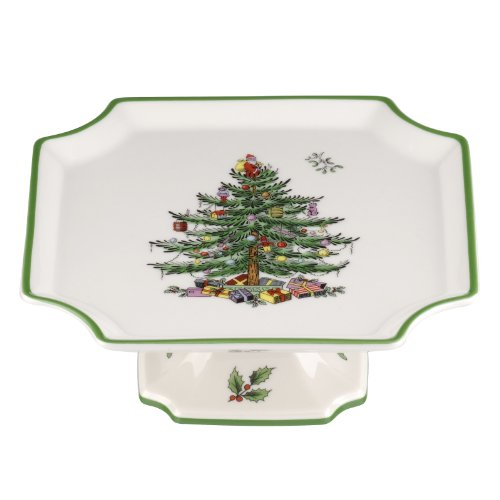 Spode Christmas Tree Footed Square Cake Plate, 6.5-Inch Square Footed Cake