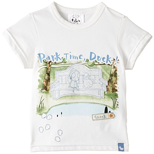 Sarah & Duck Park Time Duck Short Sleeve T-Shirt, Off-White, One Size (Manufacturer Size:18-24 Months)