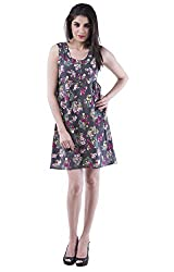 AARR printed A-line knee length sleeveless round neck cotton dress