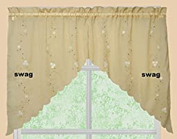 Creative Linens Daisy Embroidery Kitchen Curtain Valance, Tiers or Swags GOLD Window Treatment (60\