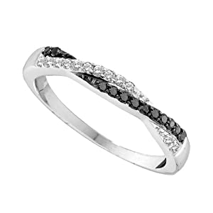14K White Gold Black and White Diamond Fashion Crossover Wedding Ring