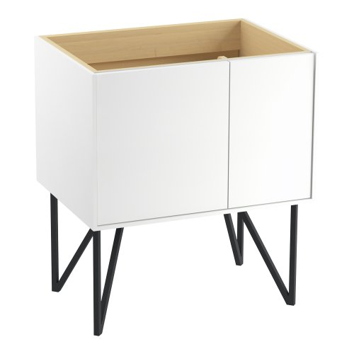 Kohler K-99541-Lgr-1Wa Jute Vanity With Furniture Legs 1 Door And 1 Drawer On Right, 30-Inch, Linen White front-622971