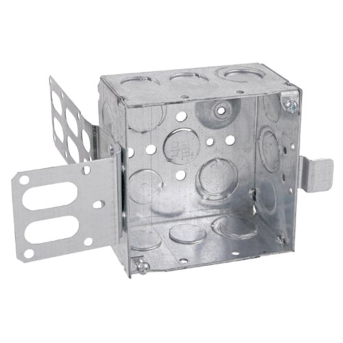 Steel City 52171-Ew-Ssx Pre-Galvanized Steel Square Box With Ssx-Wrap Mount Bracket And 1/2-Inch And 3/4-Inch Eccentric Knockouts