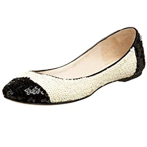 All Black Sequined Cap-Toe Flat